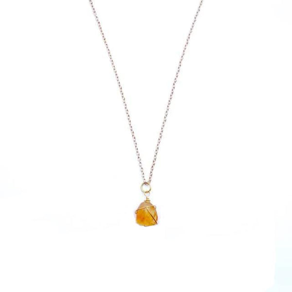 Wire wrapped citrine drop necklace