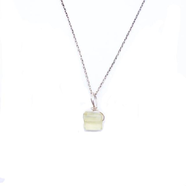 Tiny Faceted Chalcedony Necklace
