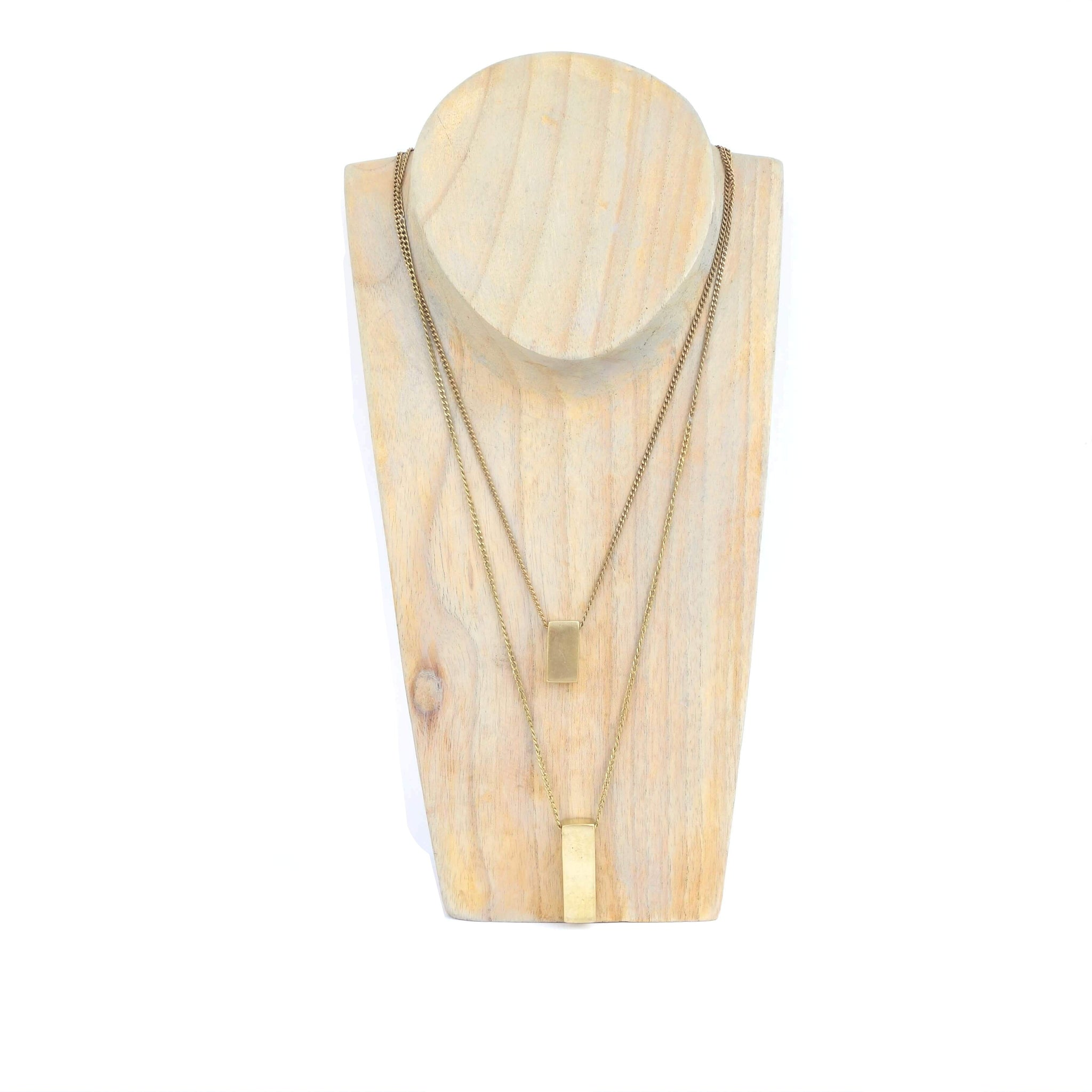 Recycled Brass Bar Pendants Necklace