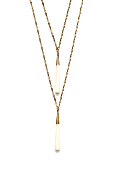 Gold + Ivory Double Pendant Necklace