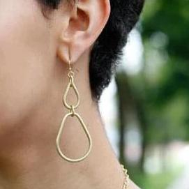Matte Metal Gold Teardrop Hoop Earrings