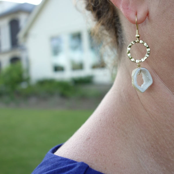 Fair Trade Brass and Natural Geode Stones Earrings