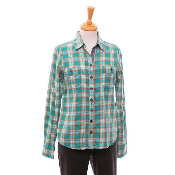 Organic Cotton Plaid Flannel Long Sleeve Collared Shirt