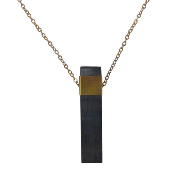 Natural Dark Horn and Brass Pendant Necklace
