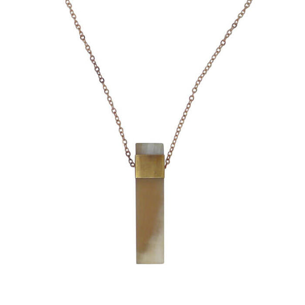 "Natural Horn and Brass 30"" Pendant Necklace"