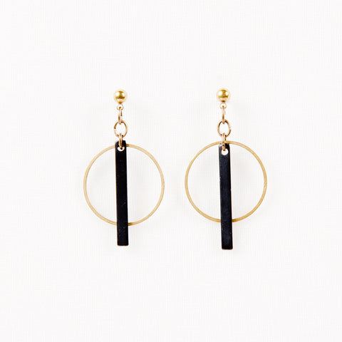 Small Hoop and Bar Post Earrings