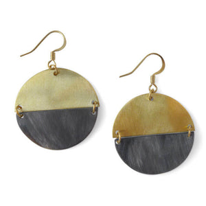 Ethically Made Natural Horn And Brass Earrings