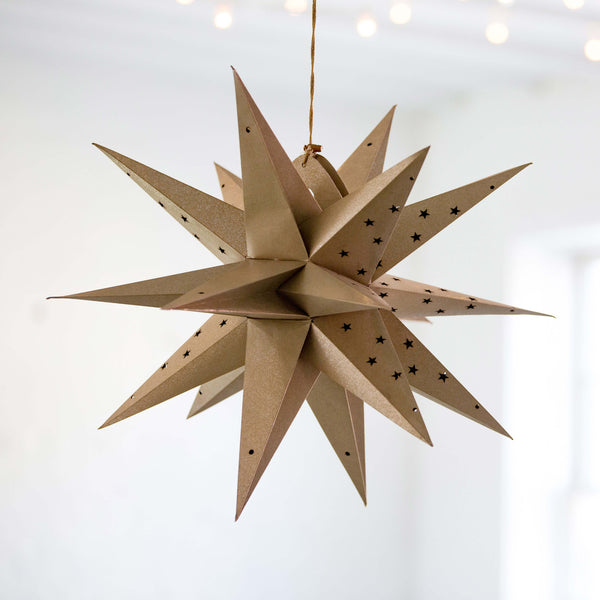 Certified Fair Trade Recycled Cotton Paper Moravian Star Lantern