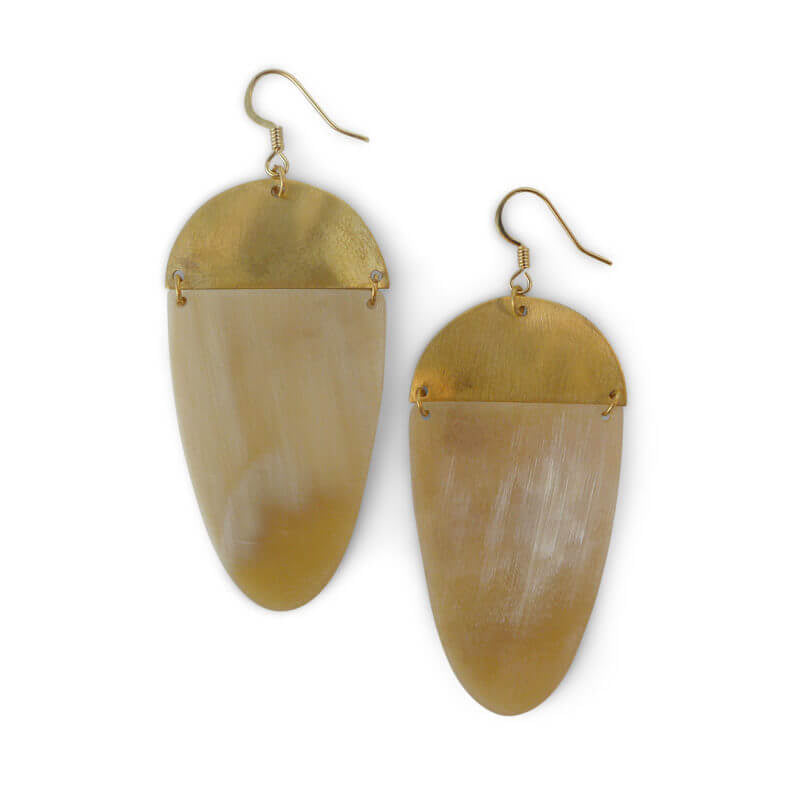 Natural Horn and Brass Statement Earrings Made in Vietnam