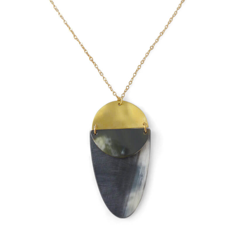 Adjustable Horn and Brass Nola Necklace Ethically Made in Vietnam