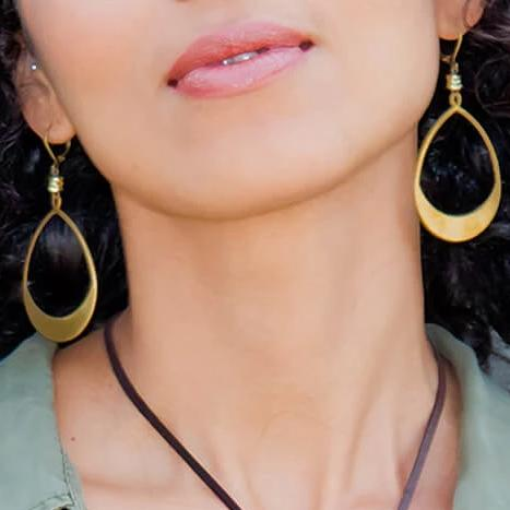 Large Crescent Hoop Brass Earrings