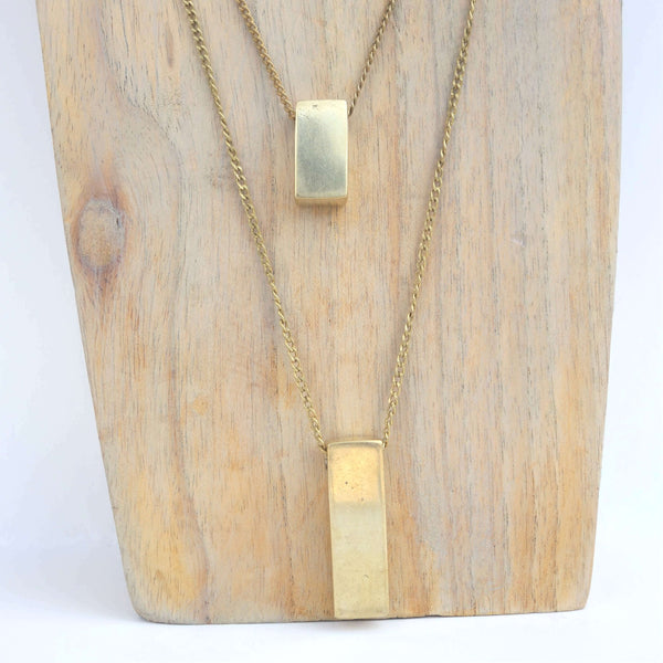 Brass Bar Pendants Necklace