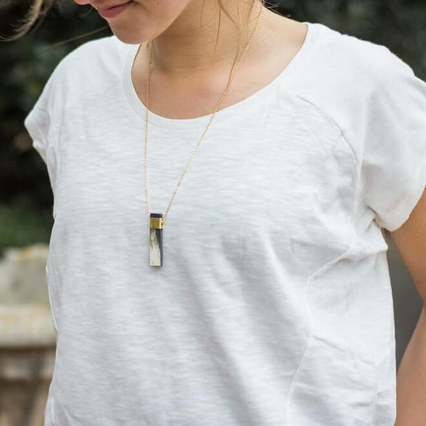 Natural Horn and Brass Pendant Necklace Ethically Made in Vietnam