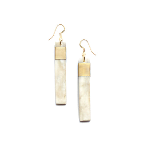 Natural Horn and Brass Stick Pendant Earrings Made in Vietnam