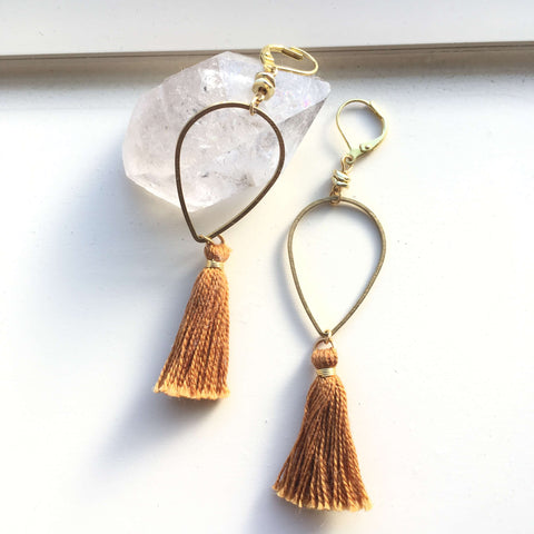 Brass Tassel Drop Earrings
