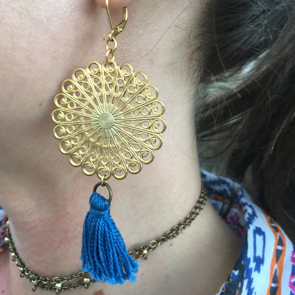 Certified Fair Trade Gold Plated Filigree Tassel Earrings