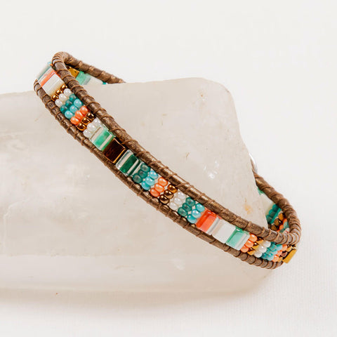 Leather and Beaded Bracelet