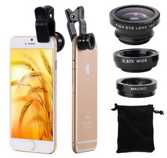Fisheye Lens 3 in 1 Clip (Universal Smartphone Compatible)