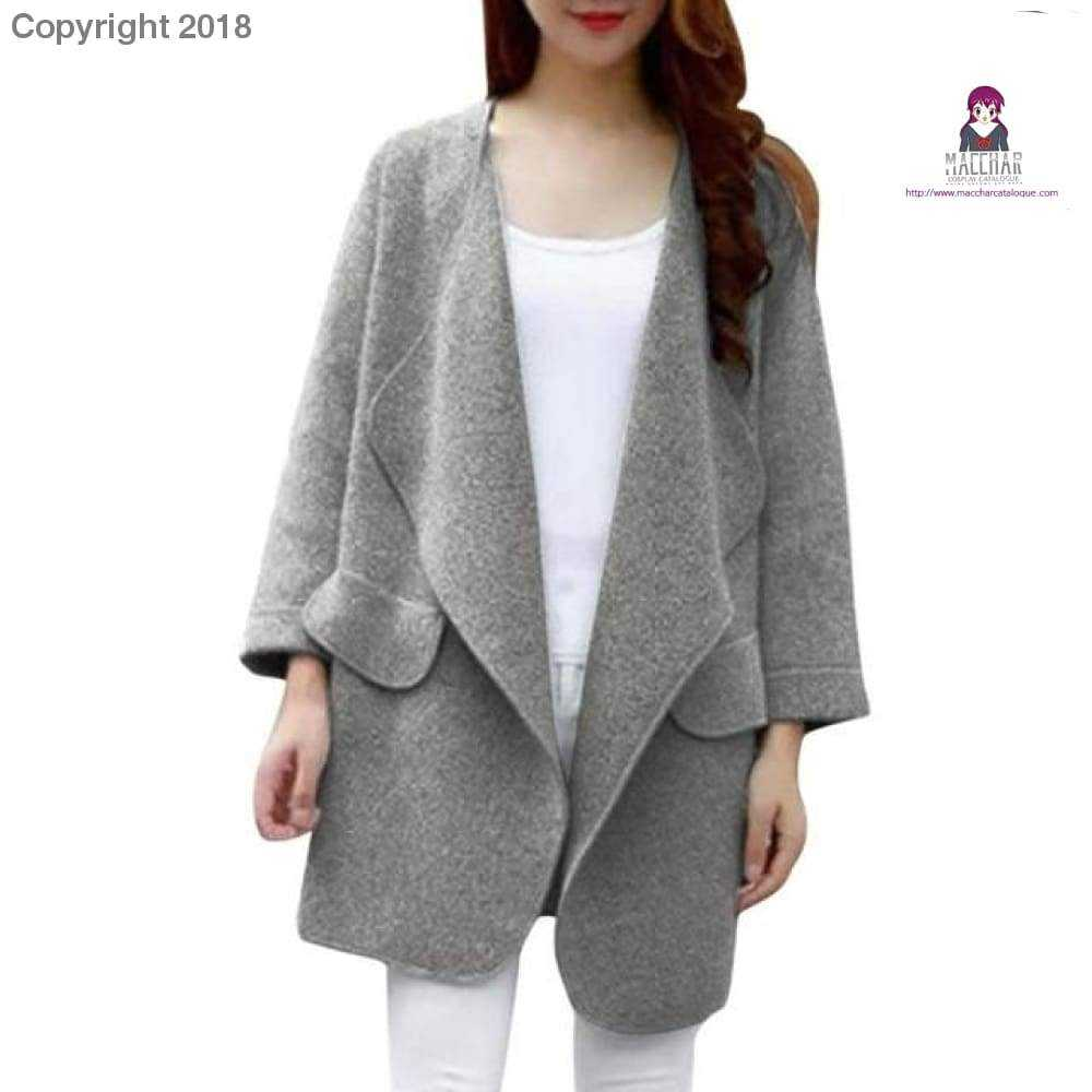 Warm Winter Women Coat Long Sleeve Knitted Wool Cardigan Solid Large Turn-down Collor Long Sweater Outwear casaco feminino Macchar Cosplay Catalogue - MACchar Cosplay Catalogue