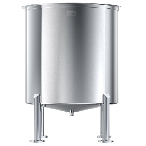Stainless Steel Tank, 100 Gals, High Polish Finish, Cone Bottom