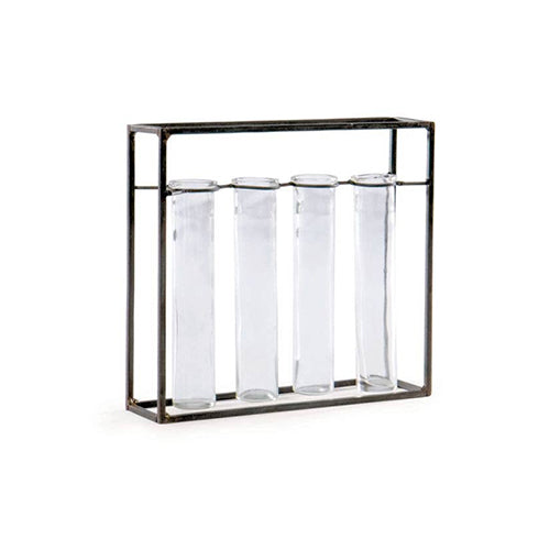 Rectangle Metal+Glass Vase