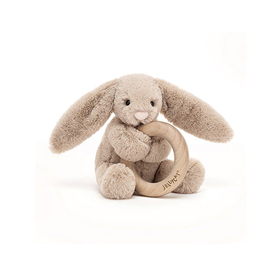 Bashful Bunny with Wooden Rattle