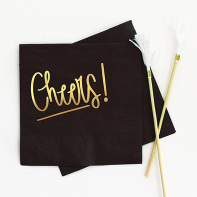 Black Cheers Foil Cocktail Napkins