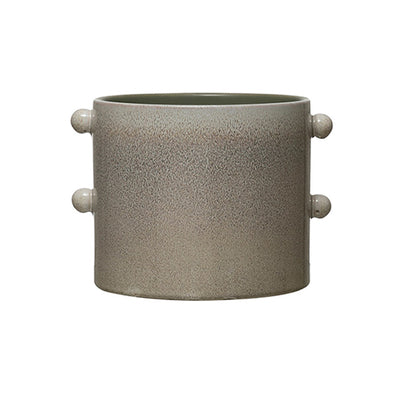 Knobby Cream Glazed Pot