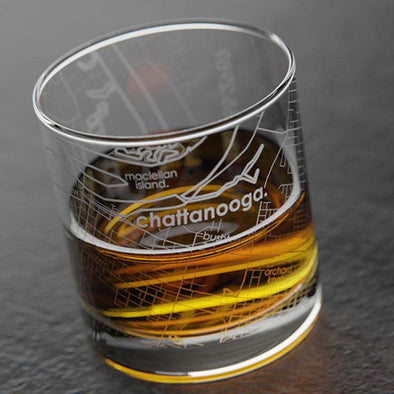Chattanooga Map Rocks Whiskey Glass