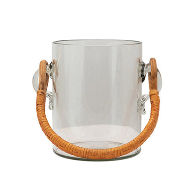 Glass Ice Bucket with Bamboo Handle