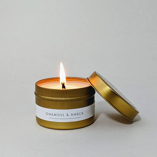 Oakmoss and Amber Tin Candle
