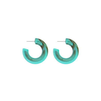 Chunky Lucite Hoops in Turquoise