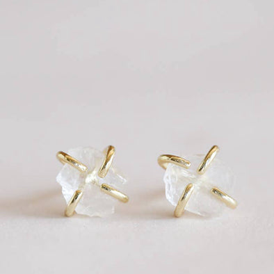 Clear Quartz Gem Studs