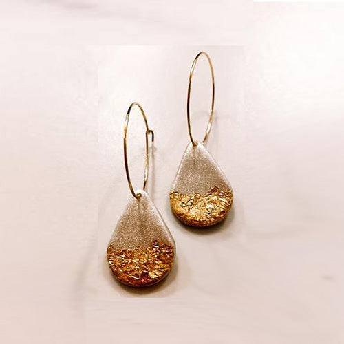 White+Gold Druzy Teardrop Earrings