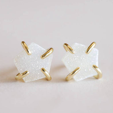 Druzy White Prong Studs