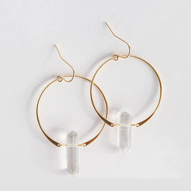 Clear Quartz Hoops