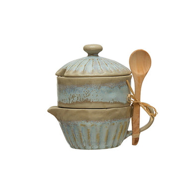 Blue Glazed Stackable Creamer + Sugar with Spoon