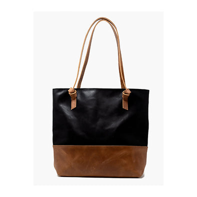 Rachel Zip Tote, Black/Whiskey