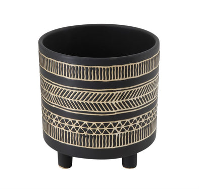 Black Footed Patterned Pot