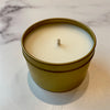 Found Teak Tin Candle