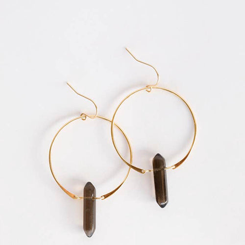 Smoky Quartz Hoops