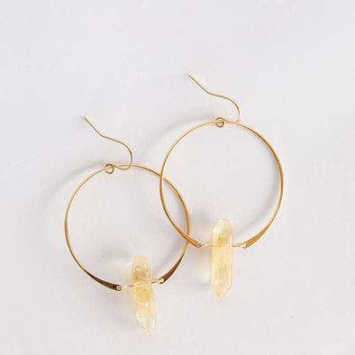 Citrine Crystal Hoops