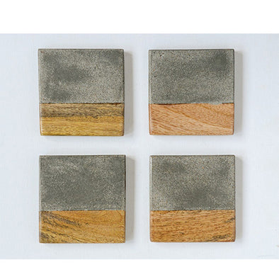 S/4 Cement + Wood Coasters