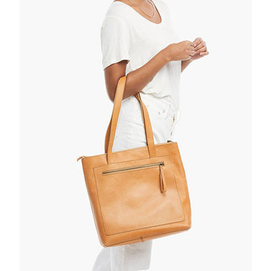 Elvia Top Zip Tote in Cognac