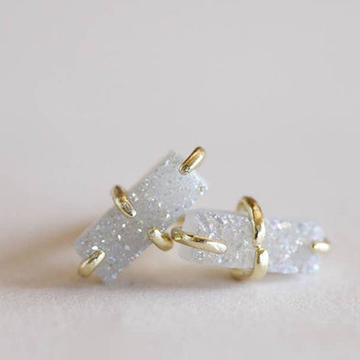 Druzy White Rectangle Studs