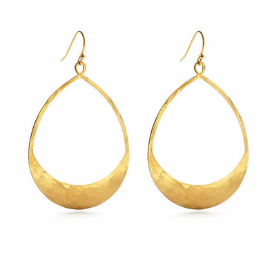 Hammered Brass Teardrop Earrings