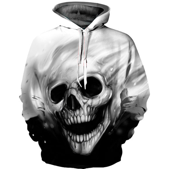 Hoodies Men Hooded Sweatshirts Skull 3D Print Casual