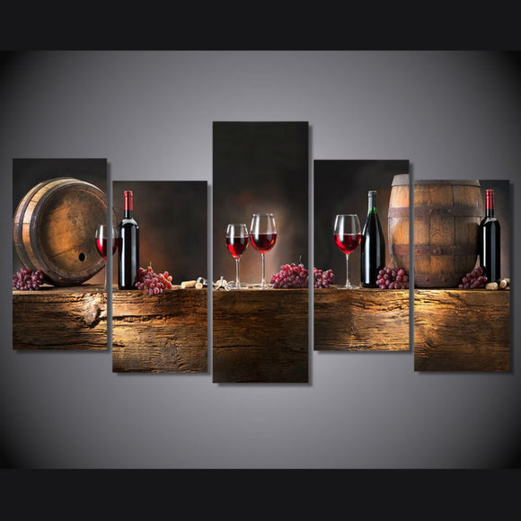 5 Panels Wine Lover's Perfect Home Gift