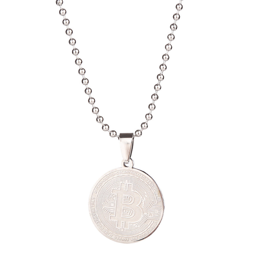 Stainless Steel Bitcoin Necklace