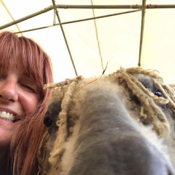 This is the lovely Eileen - with me - taking a selfie before shearing in 2018